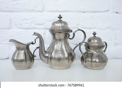 pewter tea set for people who loves vintage style in home