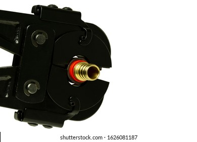 A Pex Crimp Ring Tool Fastening A Pex Pipe Fitting