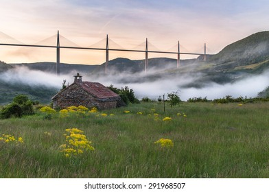 PEYRE, FRANCE - MAY 10: A view on the Viaduc Millau and in the morning mist from Peyre, France on May 10, 2015