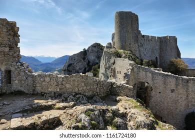 Peyrepertuse cathar castle profile, France
