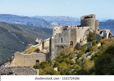 Peyrepertuse cathar castle seen from above, France
