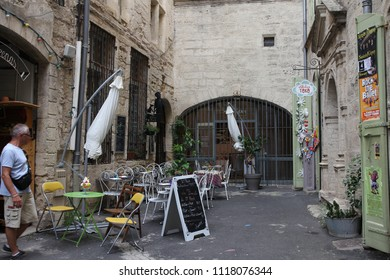 PEZENAS, FRANCE- JULY 21, 2016: Restaurant terrace  in the french city of Pezenas, Herault in southern of France