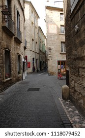 PEZENAS, FRANCE-JULY 21, 2016: street of touristic city of Pezenas, Herault in southern of France