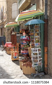 PEZENAS, FRANCE-JULY 21, 2016: Touristic shop in the city of Pezenas,  Herault in southern of France