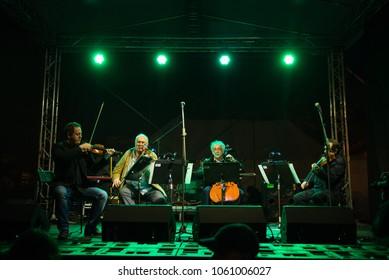 PEZINOK, SLOVAKIA - APR 3, 2018: famous Slovak chamber ensemble Moyzes quartet performing on Concert for Jan and Martina in Pezinok, Slovakia on April 3, 2018