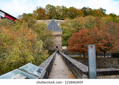 Pfaffenthal, the oldest districts of the Capital of the Luxembourg. The old, narrow bridge is linking the two fortified Vauban Towers. The picture was taken in October 2018.