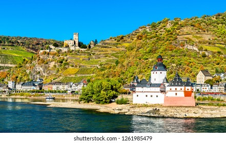 Pfalzgrafenstein and Gutenfels Castles in the Upper Middle Rhine Valley, Germany