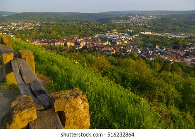PFORZHEIM, GERMANY - April 29. 2015: cityview from Memorial of Bombing City on the Wallberg Rubble Hill in Pforzheim, Germany, Gold City in the Black Forest