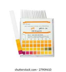 pH color indicator test strips on a white background