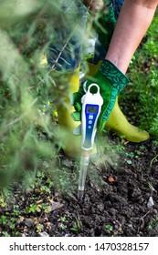 PH meter tester in soil. Measure soil with digital device. Woman farmer in a garden.