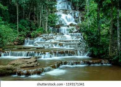 Pha Charoen Waterfall,a lovely 97-level stair-stepping waterfall in Namtok Pha Charoen National Park,Phop Phra District,Tak Province,Thailand.