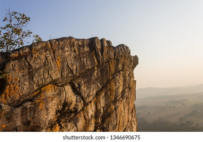 Pha Hua Rue Rock Cliff Phayao Attractions Thailand with Warm Sun Light and Green Tree. Natural stone or rock mountain at Phayao northern Thailand travel