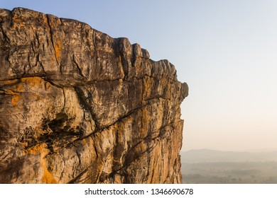 Pha Hua Rue Rock Cliff Phayao Attractions Thailand with Warm Sun Light Zoom View. Natural stone or rock mountain at Phayao northern Thailand travel