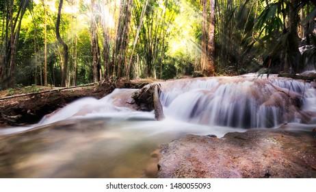 Pha Tad Waterfall is located in Thong Pha Phum District, Kanchanaburi Province, Srinakarin Dam National Park, Kanchanaburi Province.