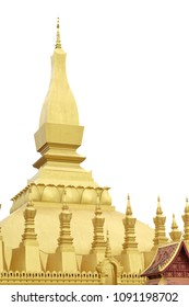 Pha That Luang is a big gold-covered large Buddhist stupa and be the most important national monument at the central of Vientiane city,Laos.Pha That Luang isolated on white backgrond.