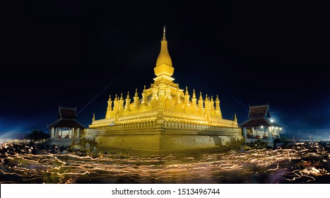 Pha That Luang is a gold-covered large Buddhist stupa in the centre of the city of Vientiane, Laos. Pha That Luang Temple, The Golden Pagoda in VIENTIANE ,LAOS PDR.