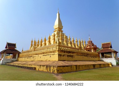Pha That Luang or Great Stupa, Gold Leaf Covered Buddhist Stupa, Stunning National Monument Located in Vientiane, Capital of Laos