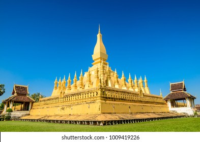 Pha That Luang Temple, The Golden Pagoda in VIENTIANE ,LAOS PDR.