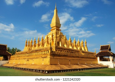 Pha That Luang temple in Vientiane , Laos