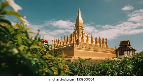 Pha That Luang Vientiane, Laos. That-Luang Golden Pagoda in Vientiane, Laos. Pha That Luang at Vientiane. Blue sky backgroung beautibul.
