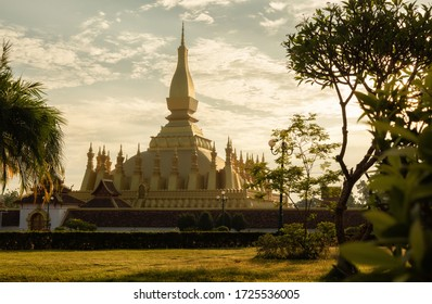 Pha That Luang Vientiane, Laos. That-Luang Golden Pagoda in Vientiane, Laos. Pha That Luang at Vientiane. Blue sky background beautiful.