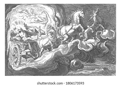 Phaethon drives through the air in his father's chariot, the sun god Helios. Top left Aurora, goddess of the dawn and the new day. The wind is blowing and the sea is restless, vintage engraving.