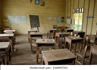 Phak Hai district , Ayutthaya / THAILAND - July 27,2018: Older Classroom in the Countryside.