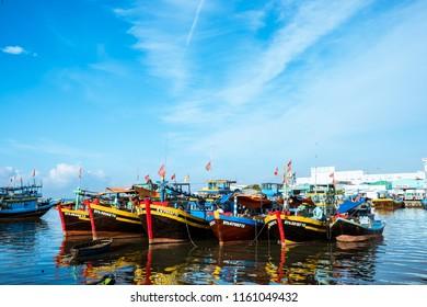Phan Thiet, Binh Thuan/ Vietnam - 05 06 2018: Ca Ty River wharf in Phan Thiet, Vietnam