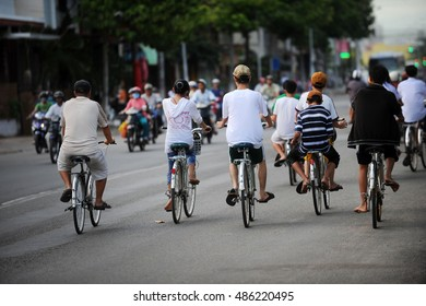Phan Thiet Vietnam , August 31 , 2012: cyclists on the road