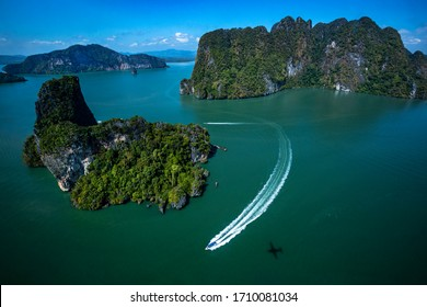 Phang Nga Bay and James Bond aerial view of beautiful Island with limestone cliffs in sea, near Phuket region, Phangnga,Thailand.