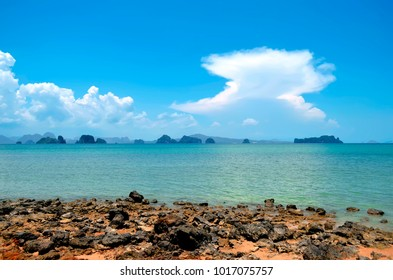 The Phang Nga Bay seen from the Lom Lae beach on Koh Yao Noi, in the Andaman Sea, Thailand