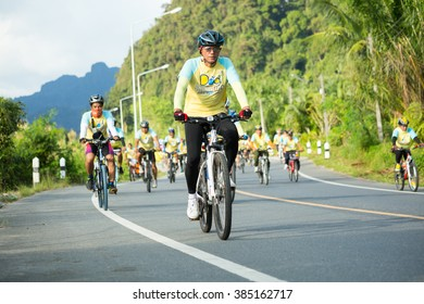 """Phang Nga - DEC 11 : Event """"Bike for dad"""" from Thailand. Many people go to Bike for dad event to show respected to The King of Thailand on December 11, 2015, Thailand"""