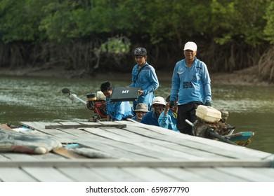 Phang Nga , Thailand - JUNE 16, 2017 : Fishing & Boat on the river in the Phang nga bay