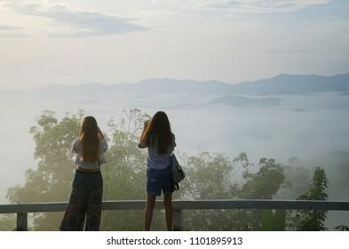Phang nga, Thailand - May 15th, 2018: The tourist are taking photos of beautiful fog view point of Khao Khai nui, Phang nga, Thailand in the morning.