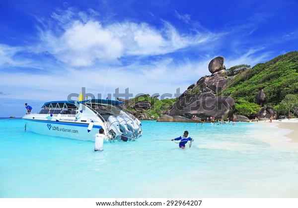 Phang Nga, Thailand-Oct 18, 2013 : clear water beautiful sea like a heaven at Similan island, Phang-nga Thailand