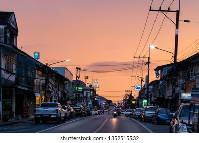 Phang Nga Town, Thailand - 11 January 2018 - Beautiful sunset in the city center of Phang Nga in Thailand, Asia.