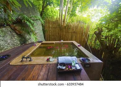 PHANGAN, SURATTHANI, THAILAND - JULY 08, 2016: Healthy hot green tea bath in Anantara SPA in Thong Nai Pan Noi beach, Koh Phangan, Thailand.