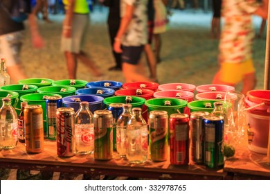 PHANGAN, THAILAND - Aug 29, 2015, There are about 10,000 people every month at this Phangan beach Full moon party, on Aug 29, 2015 in Koh Phangan , Thailand .