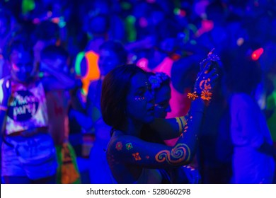 PHANGAN, THAILAND - Aug 30, 2015, There are about 10,000 people every month at this Phangan beach Full moon party, on Aug 30, 2015 in Koh Phangan , Thailand .