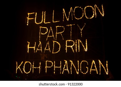 PHANGAN, THAILAND - DECEMBER 10 : There are about 10,000 people every month at this Phangan beach Full moon party, on December 10, 2011 in Koh Phangan , Thailand .