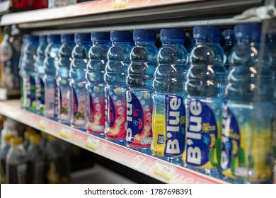 ์Nakhon Phanom,Thailand, July 27,2020:B'lue,ฺBlue Vitamin water,Is a fruit juice mixed with vitamins, available in many flavors Under the joint venture of 2 major companies, Sappe and Danone,Thailand