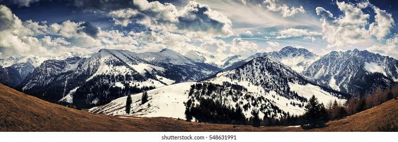 Phantastic panorama view at the beautiful alps after a nice walking trip up the Gampalp (Austria).
