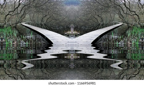 The phantom orchid,symmetrical  photography with reflection in the water of wooden paths on the water,surreal, peace, harmony, tranquility, serenity, meditation, symmetry, relaxation, balance,