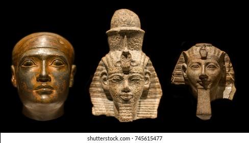 Pharaoh head isolated on black background