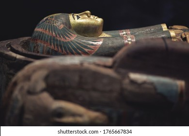 Pharaoh sarcophagus on black background