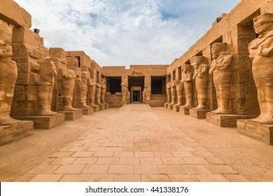 Pharaohs statues in The temple of Karnak in Luxor Egypt