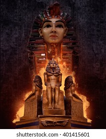 Pharaoh`s tomb statues. Composition of ancient egyptian pharaoh`s tomb statues with fire & symbolic rusty walls on background.