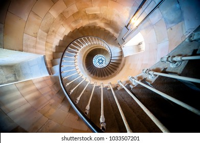 Phare des Baleines, Isle du Re, France. July 1, 2017. Internal staircase.The lighthouse owes its name to the fact that a relatively large number of whales had washed up at this point on the Isle of Ré