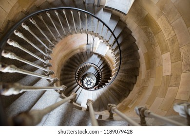 Phare des Baleines, Isle du Re, France - September 18, 2018: Internal spiral staircase of the Lighthouse of the Whales. The lighthouse owes its name  sadly to the many beached whales in the area.