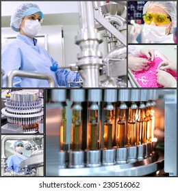 Pharmaceutical Manufacturing Technology. Collage of photographs  presenting pharmaceutical concept. Pharmaceutical industry. Medicine manufacturing. Pharmaceutical workers at work.